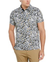 men's floral print ultra soft touch short sleeve polo shirt