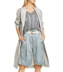 women's brunello cucinello metallic linen longline belted topper