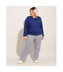 pijama manga longa plus size com listras azul marinho