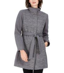vince camuto petite faux-leather-belt coat