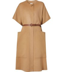 burberry belted oversized buttoned cape - brown