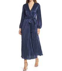women's bardot melissa long sleeve plisse faux wrap midi dress