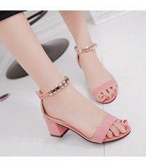 mujer sandalias de punta abierta de tacón de moda de mujer -rosa