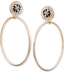guess gold-tone pave & jet logo drop hoop earrings
