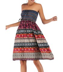 bohemian printed shirred convertible bandeau dress
