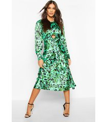 leopard print tie detail satin midi dress, green