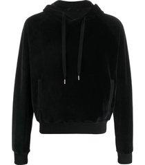 black velour hoodie