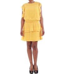 jurk vero moda 10193957 vmaruba s/s short dress sb8 yolk yellow