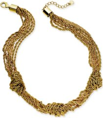 """charter club gold-tone multi-chain knotted collar necklace, 17"""" + 2"""" extender, created for macy's"""