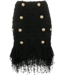 balmain short fringed tweed skirt - black