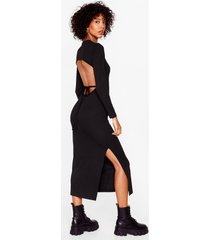 womens snap open back to reality tie midi dress - black