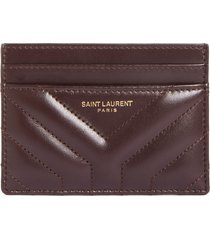 women's saint laurent joan quilted leather card case - brown