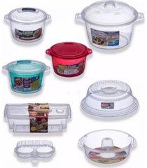 "kit 7 panelas cozinhar sem ã""leo + tampa para microondas - transparente - dafiti"
