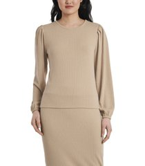 vince camuto petite long sleeve rib knit pullover top