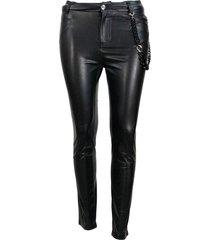 ermanno scervino slim faux leather trousers