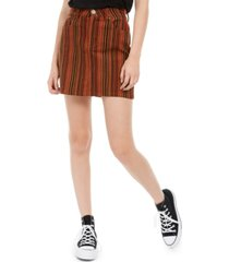 indigo rein juniors' striped denim mini skirt