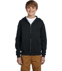 jerzees youth full zip fleece hoodies - 993b - black