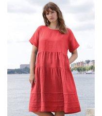 jurk 100% linnen verlaagde schoudernaden van emilia lay rood