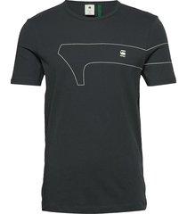 gr slim r t s\s t-shirts short-sleeved svart g-star raw