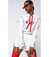 akira so real lace up detail sweatshirt