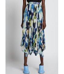 proenza schouler watercolor floral pleated chiffon skirt bluemulti/multicolour 12