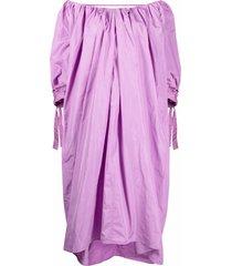msgm slouchy off-shoulder midi dress - purple