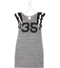 denim dungaree 35 jersey dress - grey