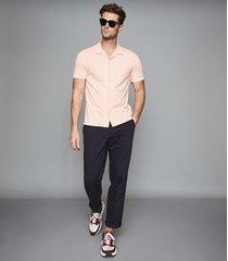 reiss fellows - jersey cuban collar shirt in soft pink, mens, size xxl