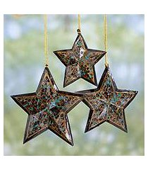 wood christmas ornaments, 'midnight blue charm' (set of 3) (india)