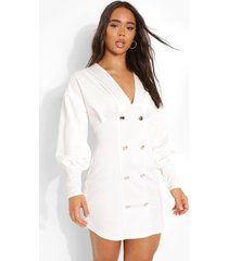 scuba blazer jurk met pofmouwen, white
