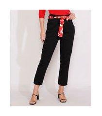 calça de sarja feminina mom cintura super alta com lenço preta