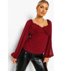 geplooide dobby mesh blouse met cup detail, berry