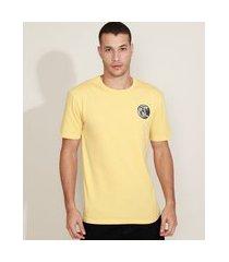 """camiseta masculina aloha"""" manga curta gola careca amarela"""""""