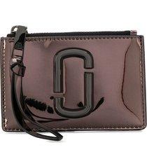 marc jacobs zip-up plaque purse - grey