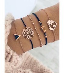 pulsera de cinco piezas con forma de corazón y luna hueca dorada