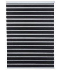 persiana rolo em poliéster estilo zebra 120x160cm preta