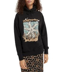 women's scotch & soda la mer mystique graphic hoodie, size x-small - black