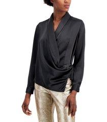 alfani draped faux-wrap blouse, created for macy's