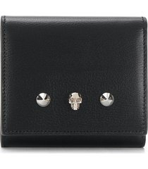 alexander mcqueen skull and stud wallet - black