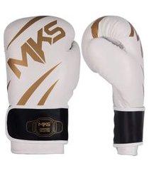 luva de boxe mks champions iii branco e dourado