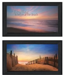 """trendy decor 4u at the beach collection by lori deiter, printed wall art, ready to hang, black frame, 42"""" x 12"""""""