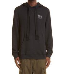 men's loewe anagram logo embroidered cotton hoodie, size x-large - black