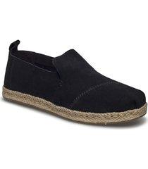 blk suede sandaletter expadrilles låga svart toms