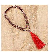 hematite long pendant necklace, 'red tassel trends' (india)