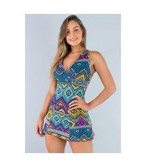 macaquinho mvb modas vestido curto short saia estampado etnico