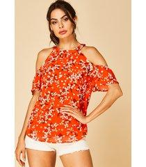 yoins naranja plisado diseño blusa con hombros descubiertos de calicó al azar