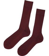 calzedonia - short ribbed egyptian cotton socks, 40-41, burgundy, men
