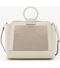 women's nicoh bangle bracelet satchel faux leather in color: linen bag from sole society