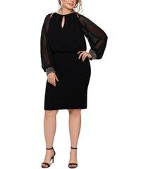 xscape plus size chiffon-sleeve sheath dress
