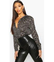 metallic oversized blouse met stippen, zwart